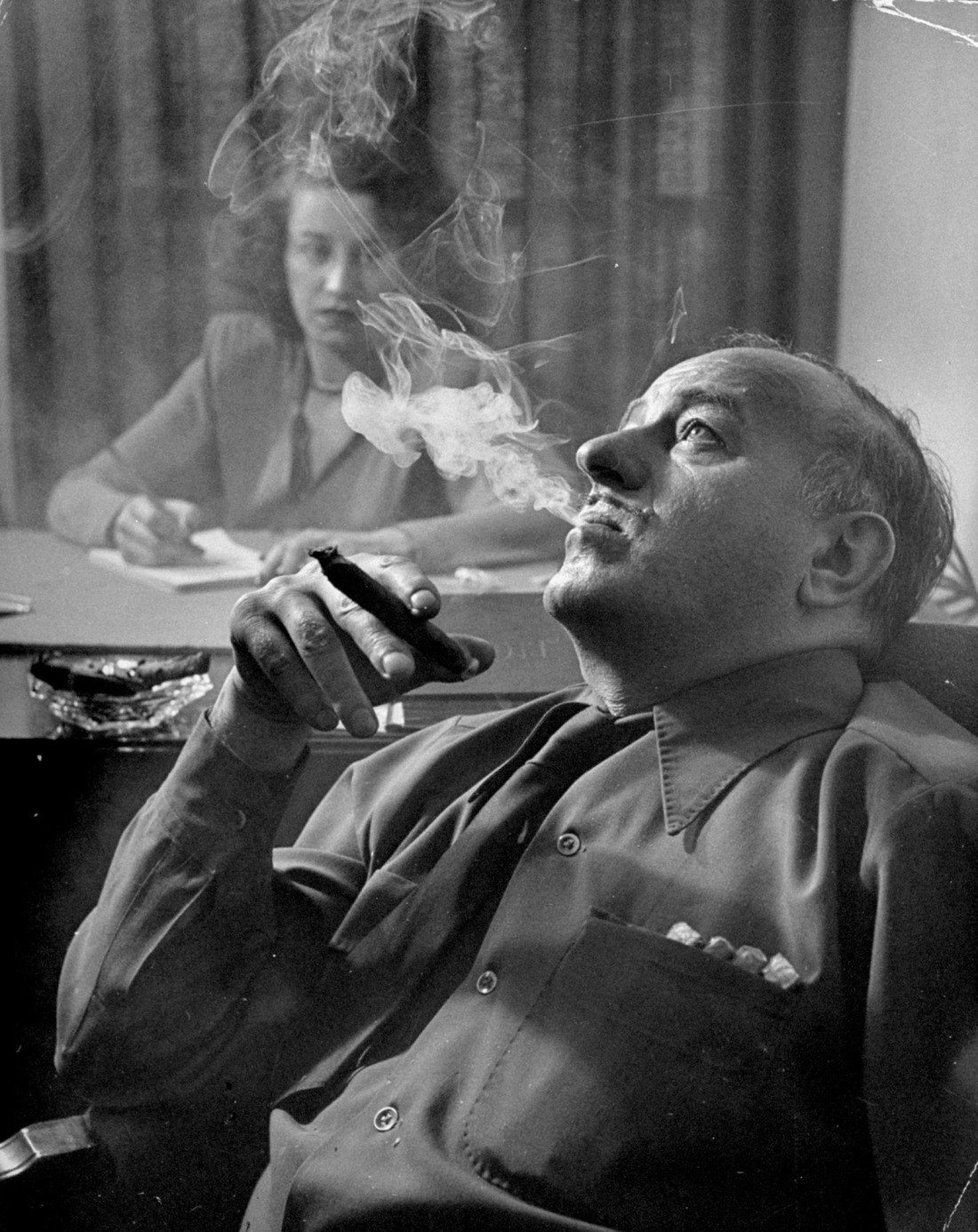 Ben Hecht dictating dialogue for his film <i>Specter of the Rose</i>, circa 1946